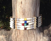 Bone choker, native american style, Cherokee seven directions, medicine wheel, sacred circle, north, south, east, west, above, below, within