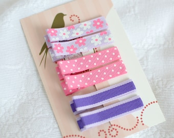 Set of 6 Pink & Purple Non Slip Hair Clips - No Slip Barrettes -Polka Dots, Flowers and Stripes