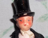 Vintage German bisque 3 3/4 inch tall Groom with tux and tophat