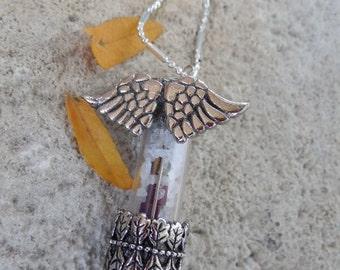 Glass vessel keepsake necklace,silver,antiqued