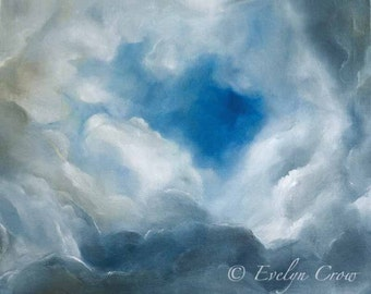 "36 hilarious clouds! - Original Oil Painting on canvas 21""x25"" by E.Crow"