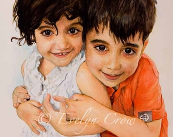 Watercolor Painting - 12x16 inches - TWO CHILDREN -  Custom Portraits from Your Photos