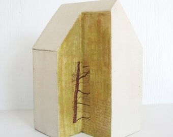 Sculptural ceramic house #13. House sculpture, home, text, trees, photo transfer, tan, natural, neutral, rustic, mustard yellow, tan, brown