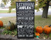 "Bathroom Decor/BATHROOM RULES Sign/ Bathroom Sign/Home Decor/Washroom/Rustic/Country/Wood Sign/Black/DAWNSPAINTING/11.5"" x 24"""