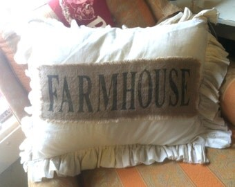 Pillow Slip Cover Pillow Sham  Burlap Muslin Pillow Sham PILLOW CASE w/ FARMHOUSE design
