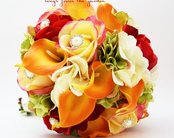 Autumn Wedding Bridal Bouquet Groom's Boutonniere Confetti Red Real Touch Roses Calla Lily Fall Color Bouquet Pearl Rhinestone Accents