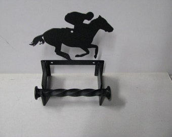 Thoroughbred Horse Racing Metal Silhouette Wall Art Toilet Paper Holder