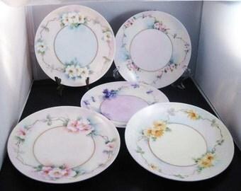 Tirschenreuth Bavaria/Germany Handpainted Plates(5)Signed C.1900-1927