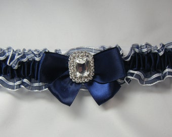 Navy and White Wedding garter prom tossing Garters