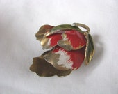 Interesting old gold tone flower bud pin brooch with red white accents