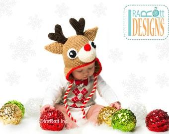 CROCHET PATTERN Blizzard the Reindeer Hat PDF Crochet Pattern Instant Download