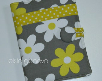 Choose Any Fabric in My Shop Book Style iPad Cover Case Protector Stand Up or Grey & Yellow Daisies and Dots