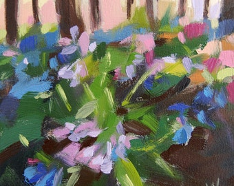 Woodland Bluebells original floral landscape oil painting on canvas 10 x 10 inches