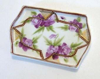 Handpainted Nippon Dish, Vintage Japanese Trinket Dish, Nippon Soap Dish, Hand Painted Purple Rose Shallow Dish, Nippon Rink Dish