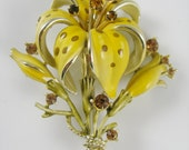 Vintage Enamel and Amber Rhinestone Day-Lily Flower Brooch