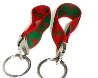 Wrist Key Fob Set.  Red and Green Dots Stretchy Key Holder Pair.  Holiday Green and Red Bracelet Style Stretch Key Fobs.  Key Organizers