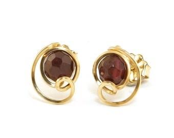 Garnet Gemstone Small Stud Earrings 14k Gold Filled Dark Wine Red Birthstone Minimalist Stud Earrings, Wire Wrapped Stud Post Earrings