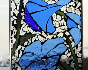 Mosaic Blue  MorningGlory ,Stained Glass SunCatcher or wall Decoration