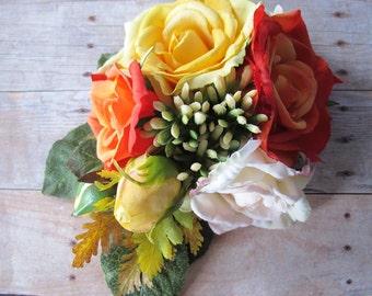 Orange - yellow - chanpagne  Roses hair flower -  Cluster hair clip -