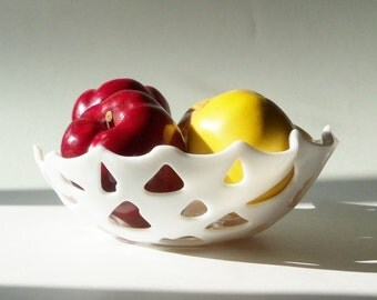 Modern White Bowl Fused GLass Fruit Display or Fun