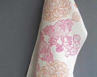 SALE Long Linen decorative table runner block printed chrysanthemum flowers blossom pinks & orange