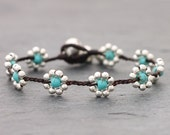 Daisy Turquoise Silver Bracelet