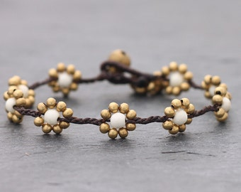 Daisy White Turquoise Braided Bracelet