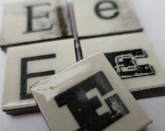 E Ceramic lettering, scrabble sized alphabet tiles hand made in the UK