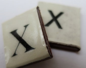 X Ceramic lettering, scrabble sized alphabet tiles hand made in the UK