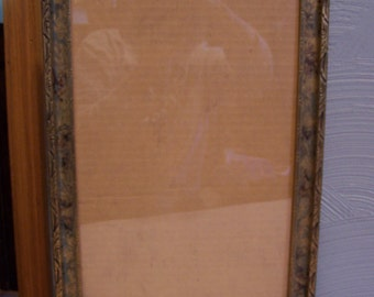 Antique Wood Picture Frame, Carved Wood, Gold Washed and Hand Painted, Very Unique and Lovely