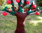 "Plush Apple Tree with 6 removable Fruits, 26"" tall, Handcrafted Toy, Felt tree or Corduroy Tree, Nursery- or Room Decor"