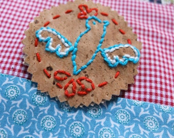 Jewellery Embroidery kit, eco-friendly brooch DIY craft project, Portuguese cork fabric, make your own pin, gift for her