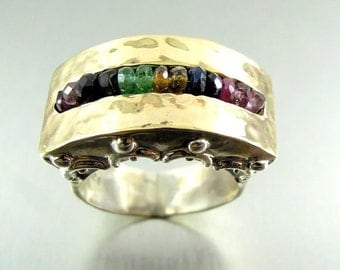 Sapphire & tourmaline ring silver scroll design and hammered gold