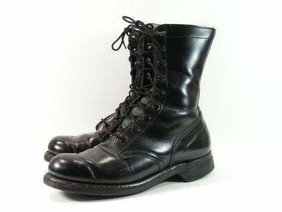 Beautiful Vintage COMBAT BOOTS -- Sz 7 (mens) 8.5 (womens) -- Distressed Black Leather | Vintage Leather ...