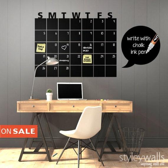 Chalkboard Calendar Decal : Chalkboard calendar wall decal chalk board by styleywalls