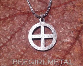 Sterling silver Sun Cross / Solar Cross (hammered)