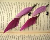 Feather Dangle Earrings / Lavander Magenta Feather Jewelry / Long Feather Earrings / Gun Metal Long Earrings / DOUBLE