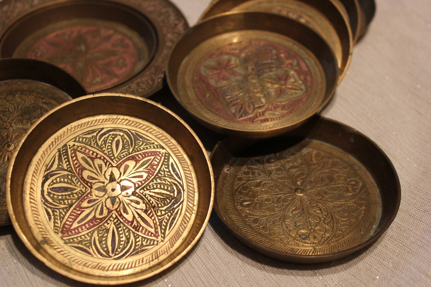Vintage Brass Coasters Made In India