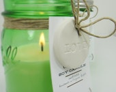 Soy Candle in Ball Green Jar - Aromatherapy Essential Oil  Candle with LOVE Clay Gift Tag Recycle Storage Jar
