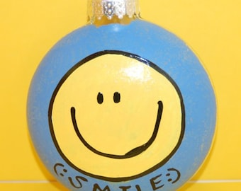 Facebook Emoticon HAPPY SMILE Christmas Tree Ornament Hand Painted Glass