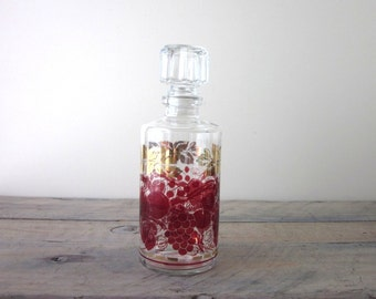 Mid Century Glass Decanter with Gold and Red Fruit Design Barware