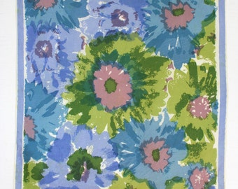 Flower power Vera scarf. Daisies, blue, green, lime, chartreuse, violet, lilac, brushwork, oblong, watercolor, pastel, summer, spring.