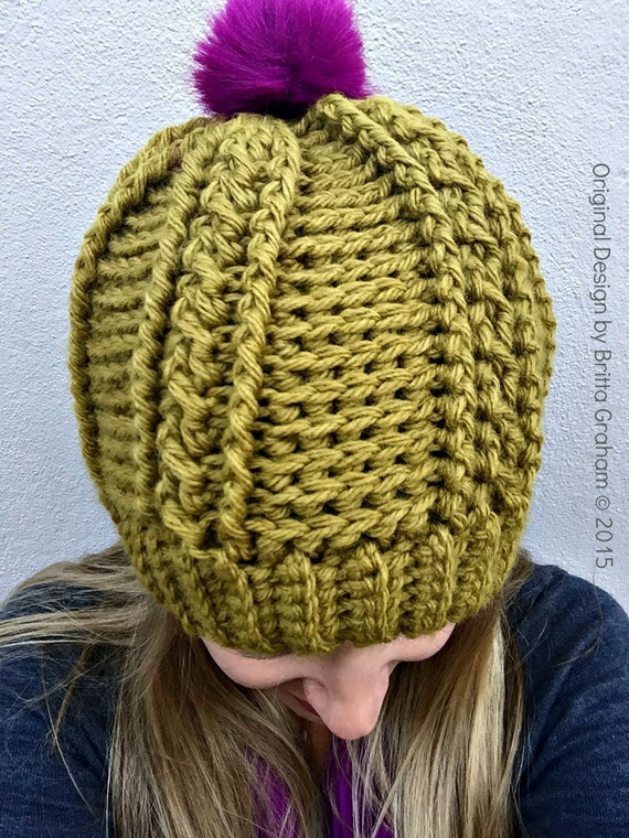 Womens Cable Beanie Crochet Pattern for chunky yarn No.250 ...