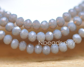 Faceted Rondelle Glass Beads 3x4mm Opal Grey Brown -(BZ04-37) / 140Pcs