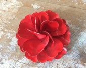 vintage red flower metal pin brooch back painted brass 60s three dimensional ladies women jewelry