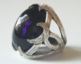 X LARGE Amethyst Crystal Stone  Sterling Silver Oxsidized Style Handmade Unisex Ring X Large   Request Custom Order