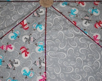 Gray and White Swirl Snowman Christmas Tree Skirt!  Ready to Ship!!