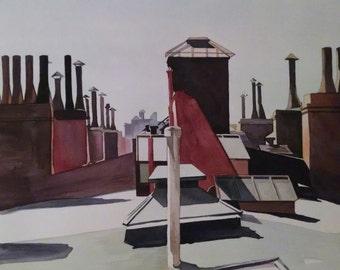 "Edward Hopper Pastiche (Washington Square Rooftops 1926) watercolor 14"" x 20"""