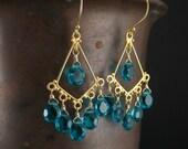 Teal Chandelier Earrings, Gold Teal Earrings, Paraiba Blue Quartz, Peacock Gold Earrings, Wire Wrapped Teal Dangle, Caribbean Blue Earrings