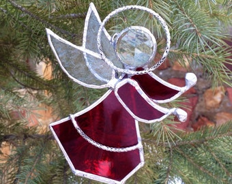 Stained Glass Angel Christmas Ornament with Blue Glass - Ruby Red - Handmade Glass Ornament
